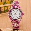 Hot Casual Sport Cuarzo Mira Los Relojes de Vestir Flor Femenina Ginebra Reloj De Plástico Del Reloj Del Relogio Feminino Relojes Mujer
