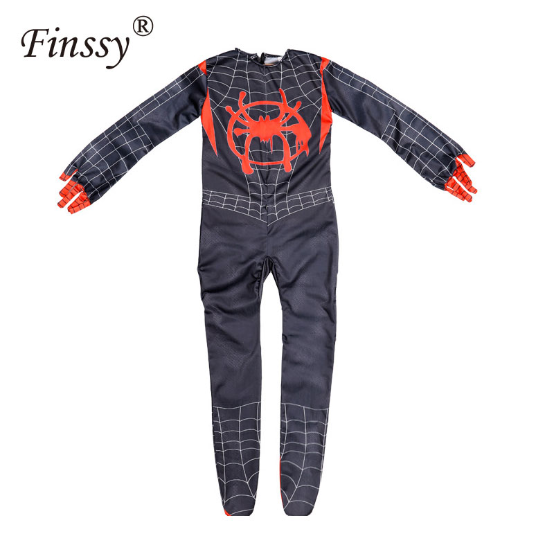 Kids Spider-Man Into the Spider-Verse Miles Morales Cosplay Costume Zentai Spiderman Pattern Bodysuit Suit Jumpsuits S M L Size