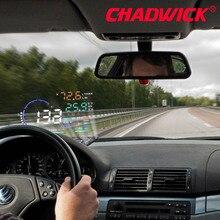 Pantalla frontal de coche CHADWICK A8 HUD proyector de parabrisas LED OBD2 escáner advertencia de velocidad consumo de combustible diagnóstico de datos 5,5 pulgadas
