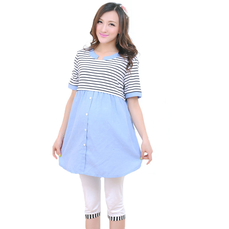 Maternity Clothes Summer Breastfeeding Blouses Striped Cotto