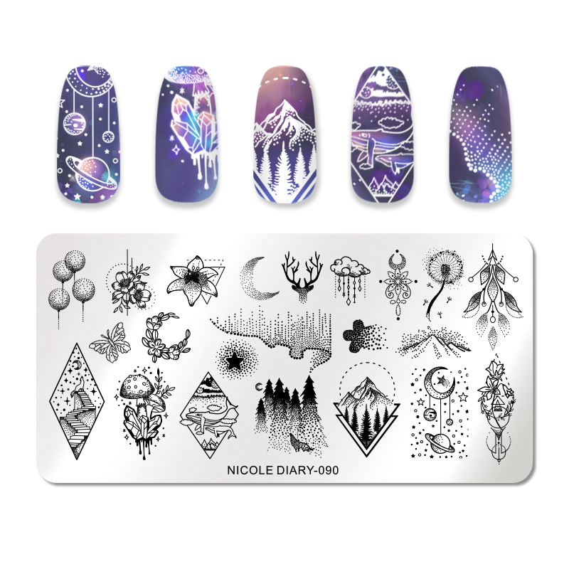 NICOLE DIARY 1 Pc Stamping Plates Stainless Steel Flower Moon Geometric Pattern Image Stamp Template in Nail Art Templates from Beauty Health