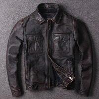 Бесплатная доставка. Распродажа брендовых курток из воловьей кожи, мужская Тонкая натуральная кожа, Повседневная Классическая винтажная к