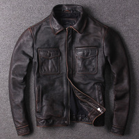 Free shipping.Sales Brand plus cowhide jackets,men's slim genuine leather,casual classic vintage safari style jacket quality