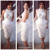 Sexy Halter Backless White Lace Short Cocktail Dress With Feather Peplum Robe Cocktail Courte 2017 Latest