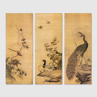 3 Pieces Set Chinese Style Peacock Birds Decoration Wall Art Pictures Canvas Paintings For Living Room