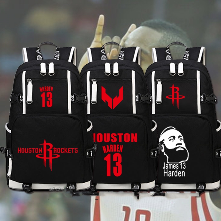 NBA Houston Rockets No.13 Hayden Big Beard Basketball Schoolbag Student Canvas Backpack Schoolbag Basketball Fan Gift