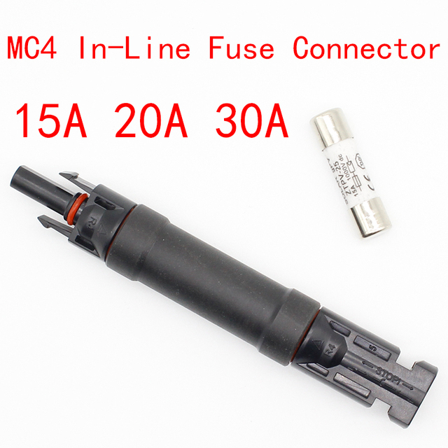 1pcsFuse Holder Protective MC4 Connector Fuse protection 1000 VDC Male to Fem PV Photovoltaic Solar Diode Waterproof 15A/20A/30A