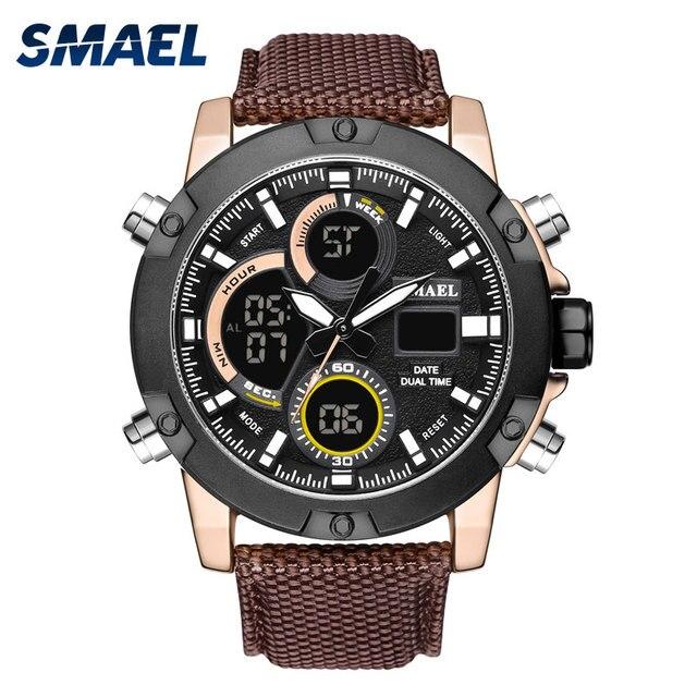 SMAEL Digital Watch Waterproof Alarm Clock Man Aolly Watch Dual Display 1325  Quartz Wristwatches Bracelet Leather Men Watches aeef3e92b75