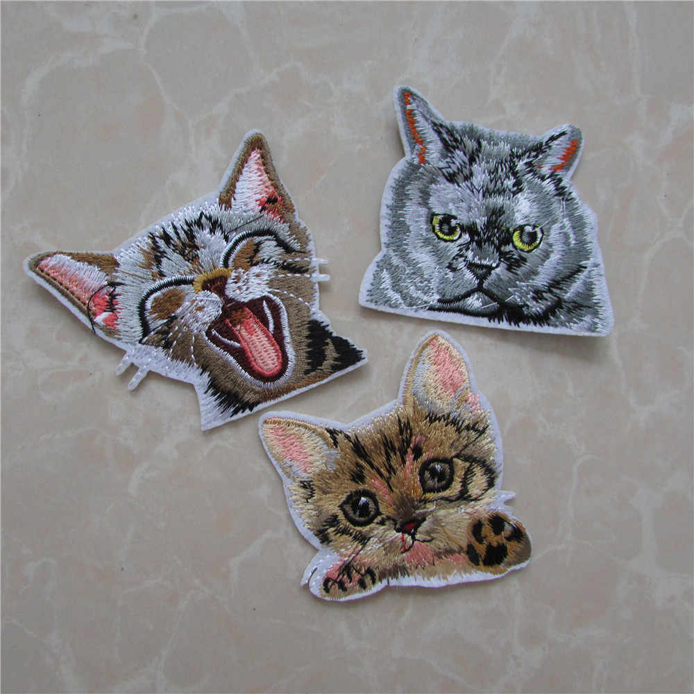 hot sale fashion style New Cat Butterfly Patches Iron On Or Sew Fabric Sticker For Clothes Badge Embroidered Appliques DIY