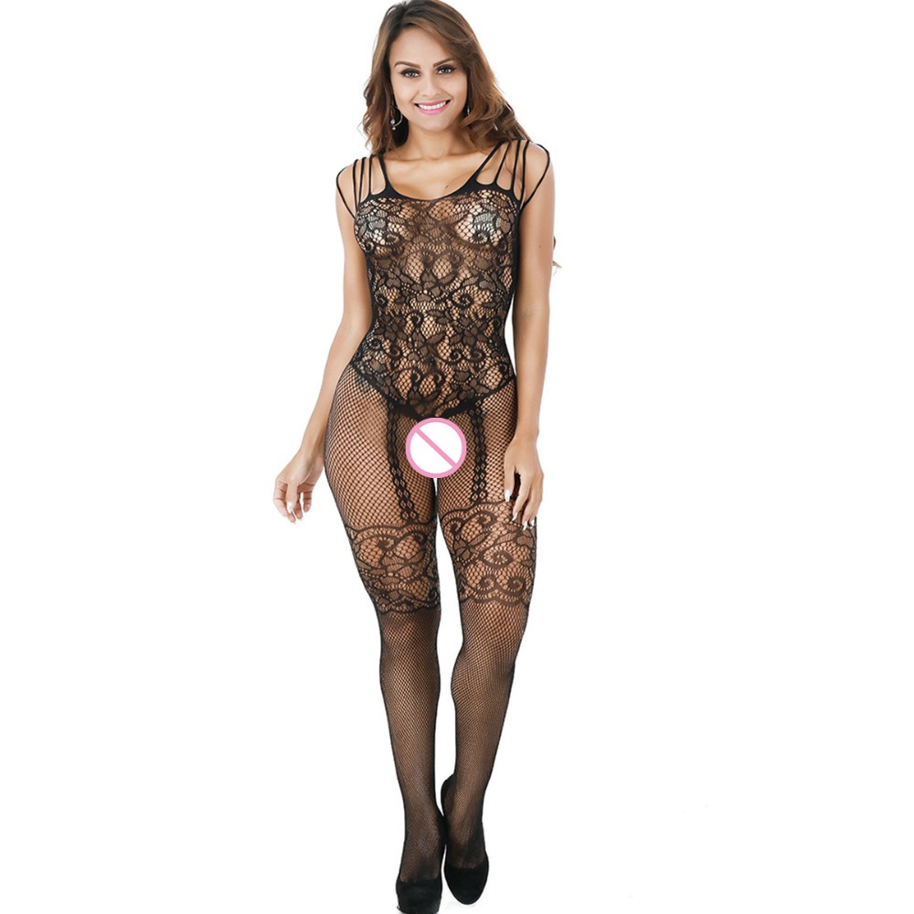 Sexy women Stockings Lace Mesh Erotic Hollow-out Crotchless Lingerie Much-loved Floral Motif Mesh Full Body Stocking
