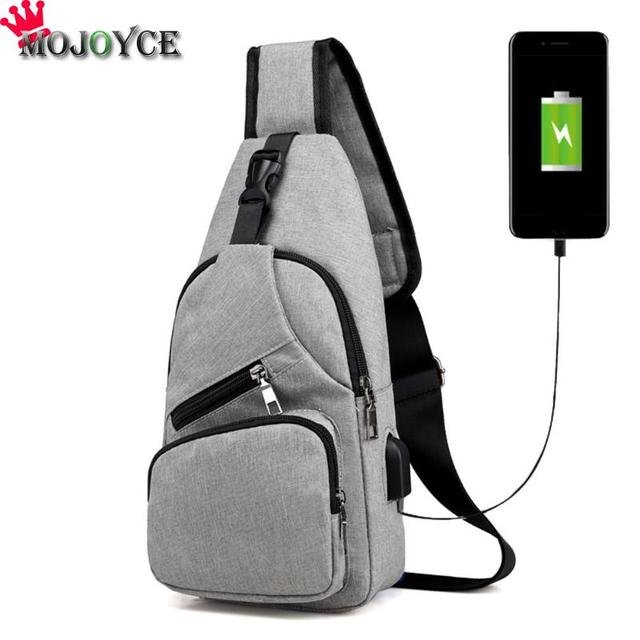 aa01baabb MOJOYCE Casual Men Sling Chest Pack Solid Canvas USB Charging Crossbody  Handbag Shoulder Bags Boys School Daily Chest Bag