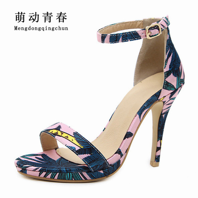 2018 Women Sandals Gladiator Open Toe Casual High Heels Shoes Fashion Women Buckle Strap Thin Heels Print Summer Sandals msfair round toe wedges women sandals fashion crystal high heels casual women sandal shoes 2018 summer open toed buckle sandals