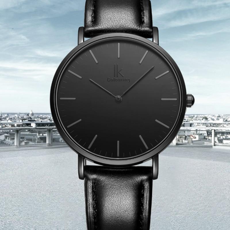 IK Colouring Ultra Thin Minimalist Mens Luxury Genuine Leather Strap Casual Quartz font b Watch b