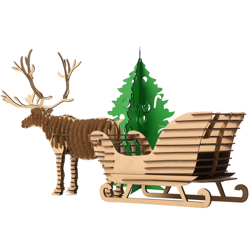 Decoration DIY Craft Kids Toys 3D jigsaw Puzzle Reindeer Snow sledge Ornaments Xmas Gift ...