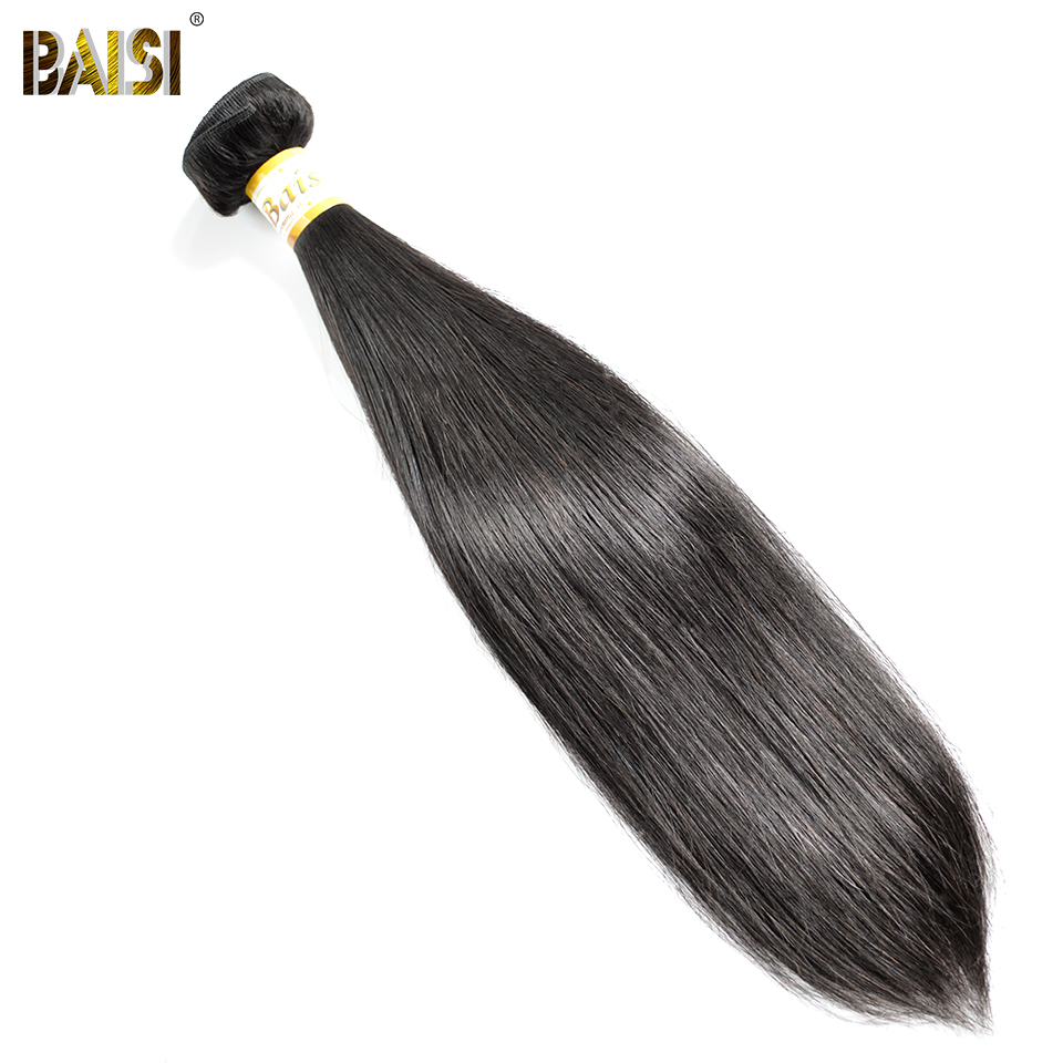 BAISI Brasilian Straight 8A Virgin Hair Extension 1/3/4 PCS, 100% Human Hair Natural Color Machine Dobbelt Weft Gratis Levering
