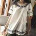 2016 new hot sale verão blusa quimono bordado mangas curtas soltas blusas de linho de algodão camisa moda roupas baratas china