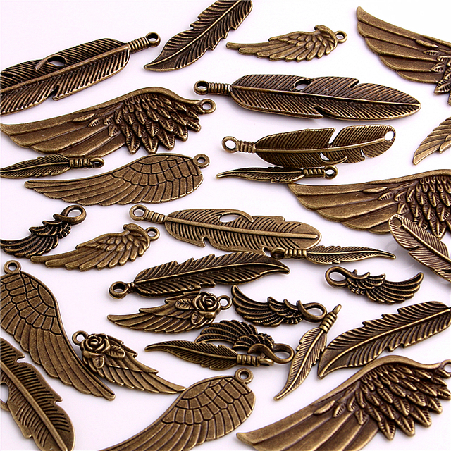 30pcs Vintage Bronze Metal Small Wings & Feather Charms for Jewelry Making Diy Z