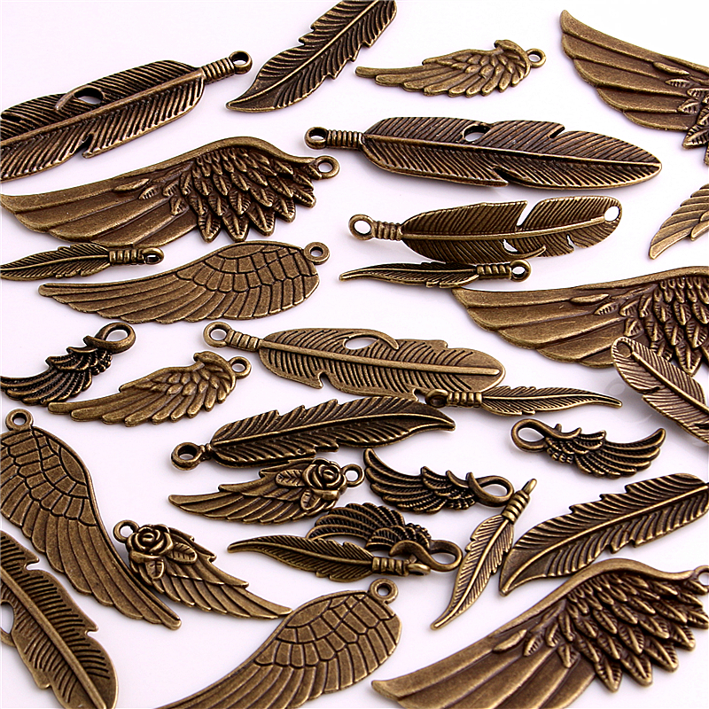 30pcs Vintage Bronze Metal Small Wings & Feather Charms for Jewelry Making Diy Zinc Alloy Mix Wings Feather Pendant Charms H3004 image