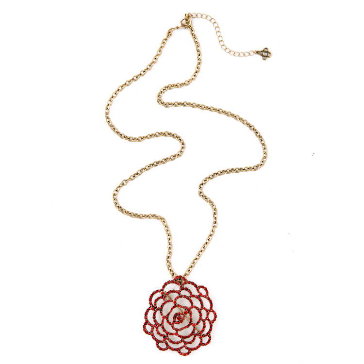 Euro-pop Tide Red Rose Necklaces & Pendants Winter Long Sweater Chain Christmas Days Gifts