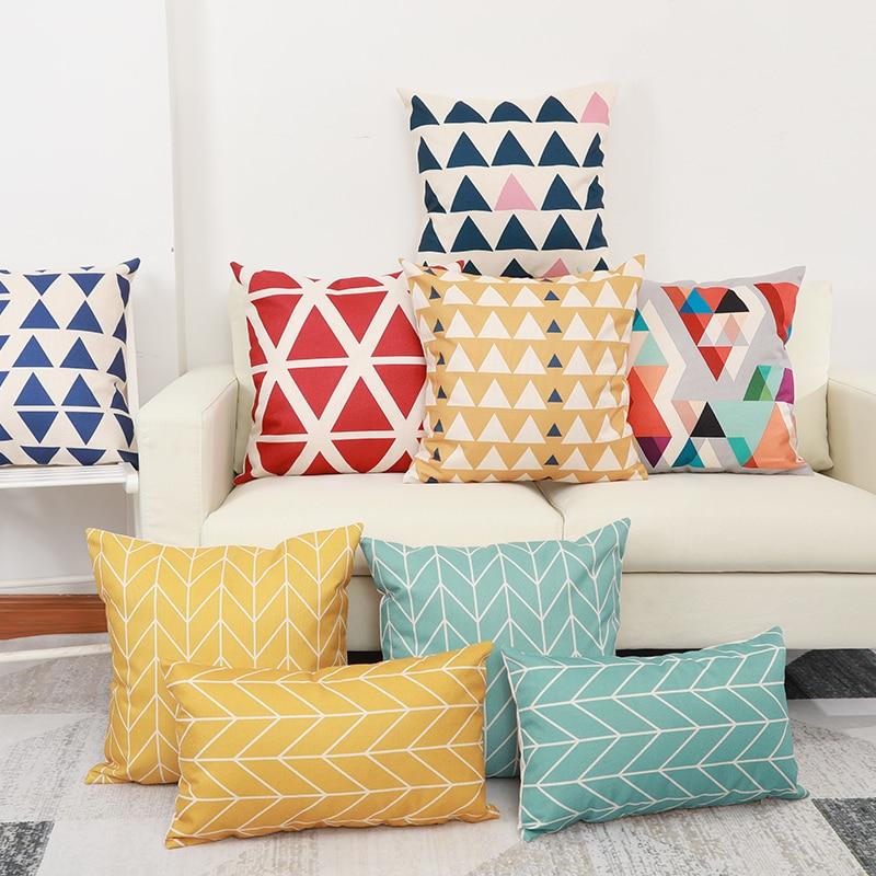 New Pillow Combination Sofa Decoration Throw Pillow Lumbar Pillow Simple Cushion  Red Yellow Blue Stripes Pillowcase Cojin