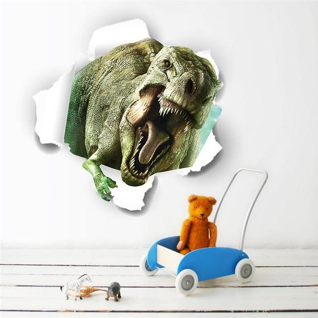 D Dinosaurs Through The Wall Stickers Home Decoration Kids Room - 3d dinosaur wall decalsd dinosaurs wall stickers decals boys room animals wall decals