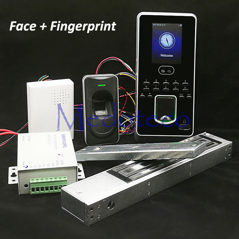 DIY Face Access Control System Kit + Fingerprint Slave Reader FR1200 +280KG 600lbs Magnetic Lock Face Door Access Controller biometric fingerprint access controller tcp ip fingerprint door access control reader