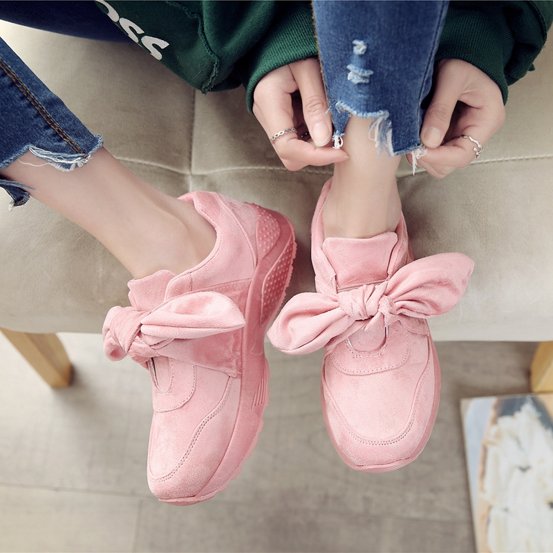 Sneakers Women Casual Shoes Fashion Flock Butterfly-knot Female Shoes Soft Comfortable Lace Up Spring Autumn Women Flat Shoes