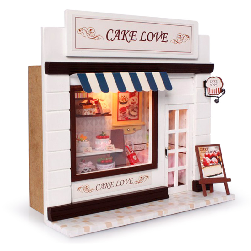 Dollhouse Miniature DIY Kit w/ Light Cake Store Bakery Bread Shop 3D Miniature Dollhouse Wood Educational Toys Girl Gifts