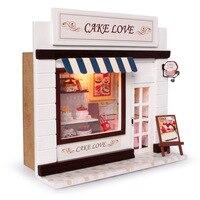 Dollhouse miniaturowy diy kit w/światło ciasto sklep piekarnia chleb sklep 3d drewna miniaturowy domek dla lalek zabawki edukacyjne dziewczyna prezenty