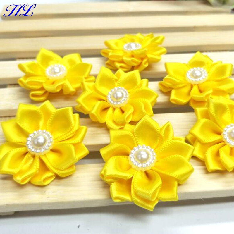 HL 20pcs 35mm Yellow Ribbon Pearl Flower Handmade Flowers