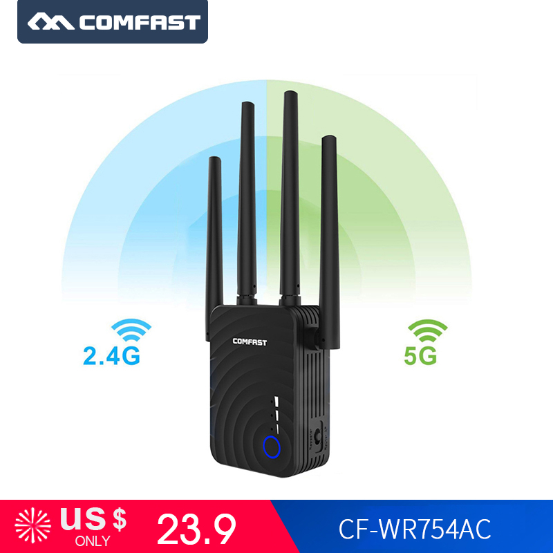 Comfast CF-WR754AC 1200Mbps Wifi Repeater Wifi Extender Wireless Router Wifi Booster 2.4&5Ghz  Wifi Long Range 4 Network Antenna