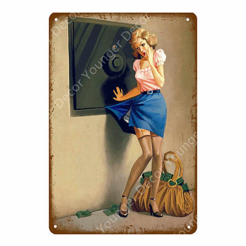 Соблазнительная девушка постеры, металлические таблички Олово Признаки Винтаж Wall Art Украшение декоративное украшение на стену паб Cafe декор дома магазина пикантные декор с изображением девушки