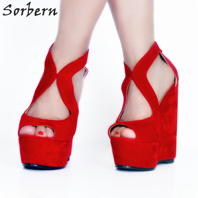 Sorbern Custom Color Red Women Sandals Wedge High Heels Platform Sandals Ladies Plus Size Chinese Size 34-47 Open Toe Shoes New boldees chic women open toe wedge sandals awesome purple suede dress shoes super high platform nighclub sandals hot plus size43