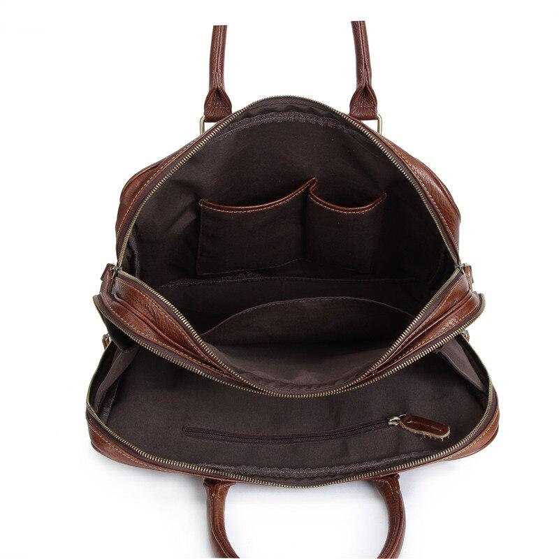 Nesitu Vintage de alta calidad marrón de cuero genuino 14 portátil Oficina de mensajero bolsas hombre cartera M1013 - 5