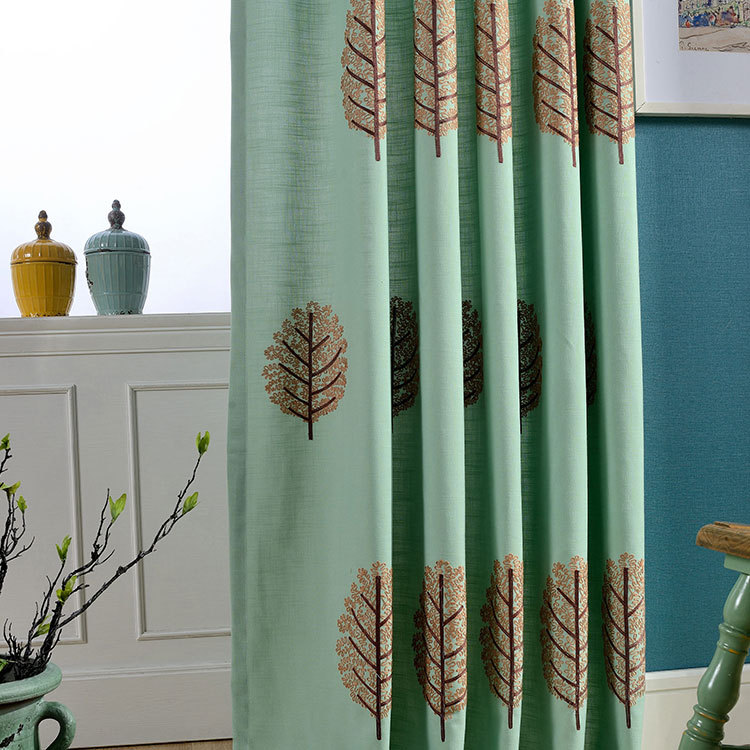 New cotton plain green embroidered curtain fabric for living room ...