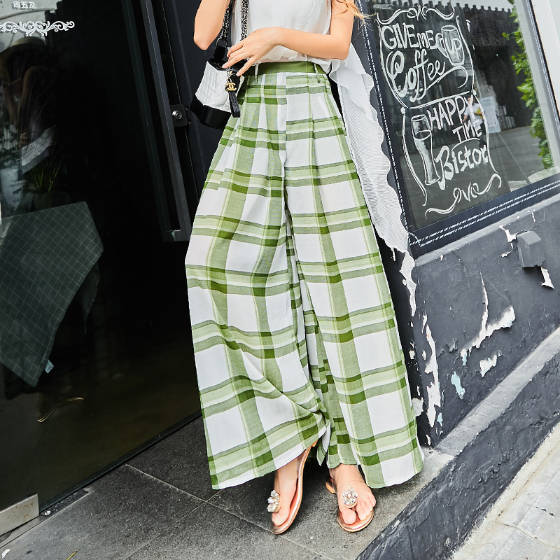 2018 Euramerican Spring Summer New Fashion Polyester Slim Fit Plaid Loose Casual Sashes High Quality Poor Cool   Wide     Leg     Pants
