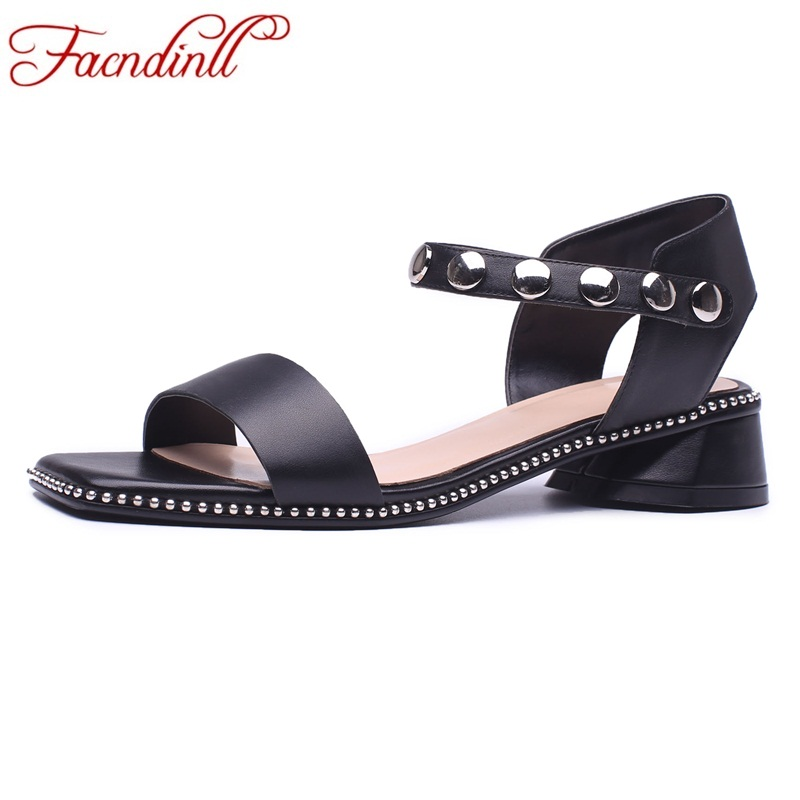 FACNDINLL genuine leather women sandals summer fashion low heels rivets black white shoes woman dress casual gladiator sandals одежда для занятий баскетболом celtic nba