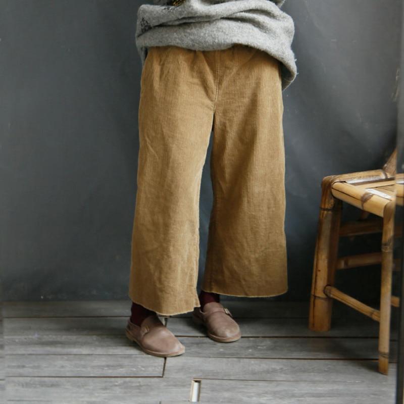Johnature Women Corduroy   Wide     Leg     Pants   Vintage Loose Trouser 2018 Autumn New Elastic Waist Casual Warm Original Women   Pants