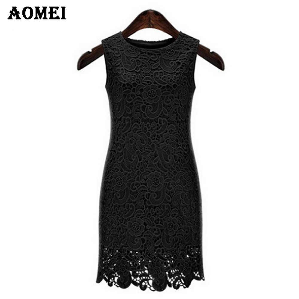 Sommer Kleine Schwarze Spitze Kleider für Frauen Ärmellose Büro Dame  Elegent Häkeln Engen Kleid Sommerkleid Robe Dünne Büro Arbeitskleidung