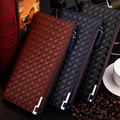 Men Wallets Plaid Zipper Hasp 3 Colors Quality Patent Leather Wallet  Large Style Business Card Holder Purse Free Shipping  065