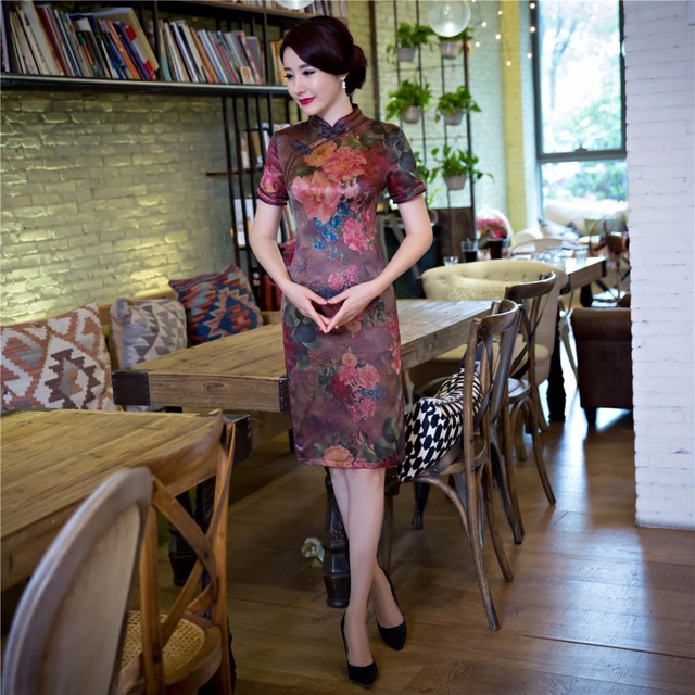 Free Shipping Short Sleeve Qipao Chinese Traditional Clothing Short Cheong-sam Dress For Women's China Dress 3 Style