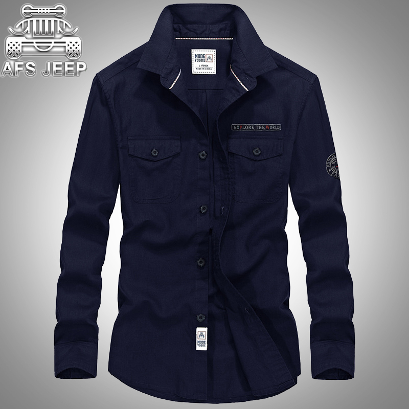 Military Men Shirts Size 4XL Spring Summer and Autumn 100% Cotton Mens Shirt Long Sleeve Casual Brand AFS JEEP Sweat Breathable