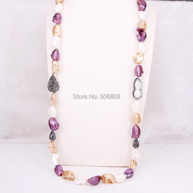 3 Strands ZYZ302 7850 Fashion Nature Pearl Beads Long Knotted Handmade Pearl Paved Stone Ethnic Women
