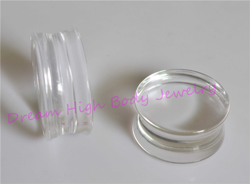 Acrylic DOUBLE FLARE Clear Expander Ear Plugs Flat Flesh Tunnel STRETCHER Taper 22mm 24mm 30mm bigger