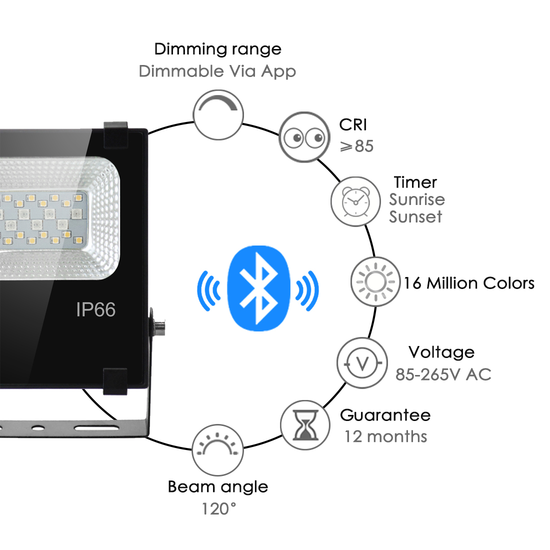 Image 2 - RGB LED Floodlight 15W Bluetooth4.0 APP Group Control Outdoor Smart Flood Light IP66 Waterproof Garden Color Changing Spotlight-in Floodlights from Lights & Lighting