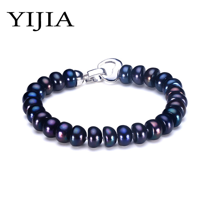 Black Natural Pearl Bracelet For Women 9-10mm Big Bread Shape Freshwater Black Pearl With Cute Love Shape Buckle Charms Bracelet sweet solid color forbidden love shape bracelet for women
