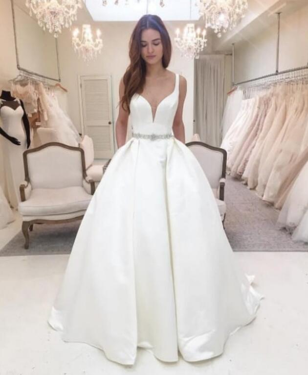 high quality nice satin wedding dress customer order 2019
