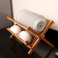 20 Compartments Kitchen Bamboo Double Layer Draining Kitchen Dish Rack Drainboard Folding Double Shelf Kitchen Storage