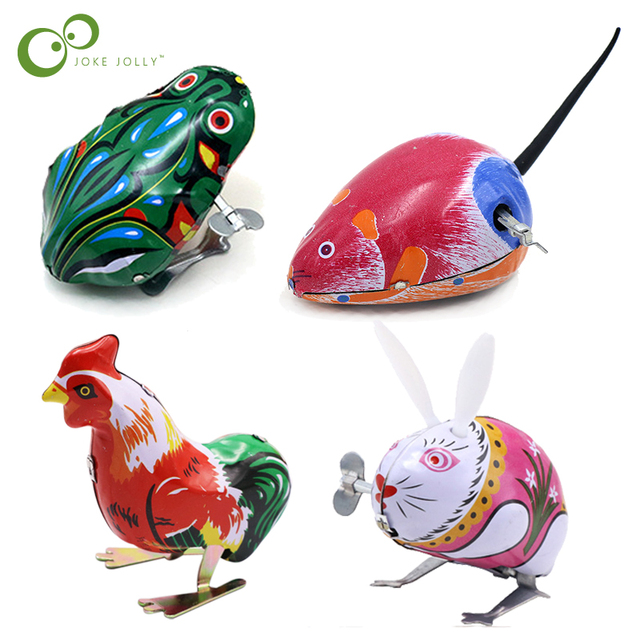 Kids Classic Tin Wind Up Clockwork Toys Jumping Frog Mouse Rabbit Cock Vintage Toy New Action Figures Toy For Children GYH