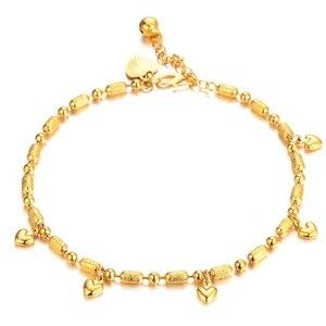 Женский Детский браслет на ногу для девочек, браслеты 18Kc с золотым наполнителем, сердце, удача, бисерная цепочка на лодыжку, модные ювелирны...